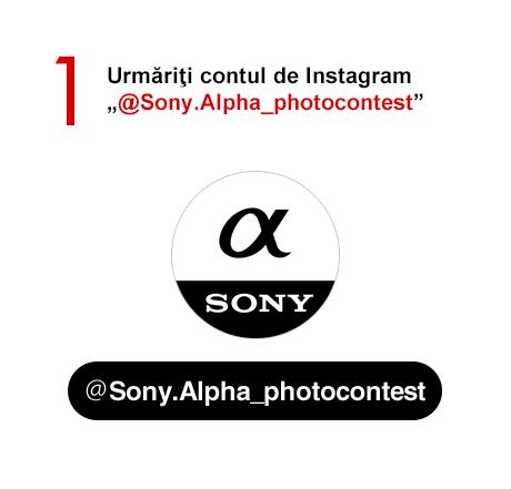 """1)Urmăriţi contul de Instagram """"@Sony.Alpha_photocontest"""""""
